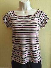 IZ Byer California Striped Short Sleeve Top Shirt Womens Juniors Size Large