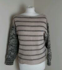 Miss Sixty Wool Mohair Mix Jumper Beige Brown Stripe Size Medium Cable Knit
