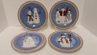 Sakura Debbie Mumm Snowman Christmas Holiday Salad Dessert Plates Set of 4