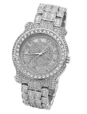 Best Iced Out Pave Silver Tone Hip Hop Men's Bling Bling Silver Metal Band Watch