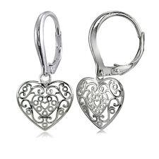 Sterling Silver High Polished Heart Filigree Leverback Earrings