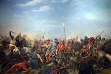 Large Viking Invasion Of Stamford Bridge Battle Painting Real Canvas Art Print