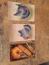 Lot of 3 Vintage Thanksgiving Postcards Turkeys/Pumpkin/Corn!! Free Shipping!