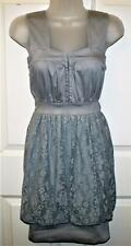 NEW BOO HOO GREY LACE DETAIL STRETCH DRESS SIZE 8   # 764