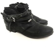 A.S. 98 Free People Black Leather Motorcycle Ankle Boots Booties Size 38