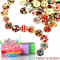 100PCS 15mm Mixed Round Pattern 2 Holes Wood Buttons Sewing Scrapbooking New #M