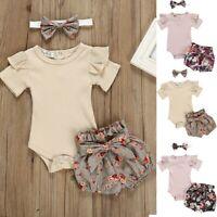 Newborn Kids Baby Girls Outfits Clothes Romper Bodysuit+Floral Print Shorts Set
