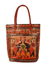 Royal Elephant Design Vintage Indian Shantiniketan Leather Tote Bag Banjara Boho