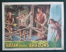 SIGNED JOHNNY SHEFFIELD~TARZAN AND THE AMAZONS~ORIG 1945 LOBBY CARD~WEISSMULLER