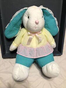 """Puffalump Girl Bunny Rabbit Plush 14"""" Green Pants Yellow Top Pink Skirt Easter"""