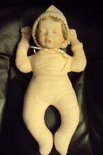 "Vintage 17"" Bisque & Cloth Sleeping Babe Doll with Pouty Lips"
