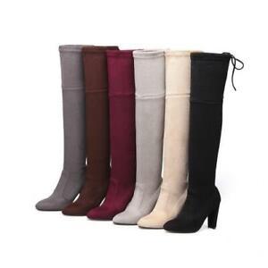 Women's Suede Fabric Outdoor Block High Heel Pointy Toe Pull On Overknee Boots D
