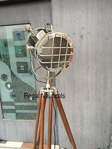 Retro Electric Polished Searchlight With Tripod Stand Floor Lamp,Nautical Tripod