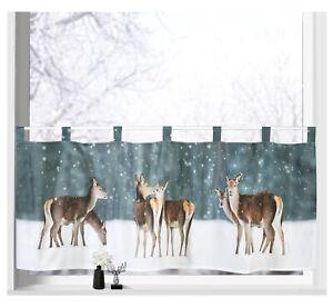 Scheibengardine Weihnachten Winter Hirsche Fenster Deko Gardine bedruckt Typ651