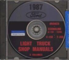 FORD 1987 Bronco, Econoline E150-E350 & F150-F350 Pick Up Truck Shop Manual CD