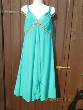 MONSOON GREEN SILK JEWELLED DRESS SIZE 14 UK ONLY WORN ONCE