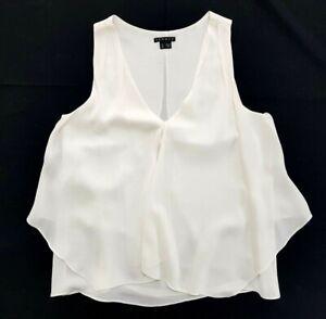 Theory Ivory V-Neck Silk Tank Top Size P Womens