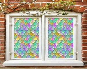3D Color Circle I628 Window Film Print Sticker Cling Stained Glass UV Block Amy