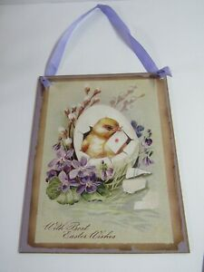 New Easter Chick In Egg Hanging Wooden Sign X43780