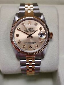 Rolex Datejust 68273 31mm 1987 Custom Gold Dial with Diamonds Fluted Bezel (164)