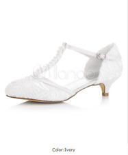 White Wedding Shoes Kitten Heel Pearls Satin T-Type Bridal Shoes Vintage Shoes 7