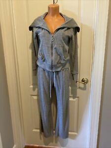 MICHAEL KORS Gray French Terry Track Suit Jacket Pants Petite Small PS SP $175