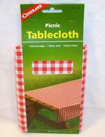 """Coghlans Red White Checked Gingham Vinyl Picnic Tablecloth 54"""" X 72"""" Camping"""
