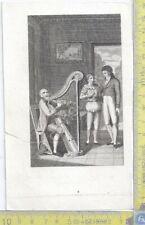 Litografia - Suonatore d'arpa  - .XIX  Secolo