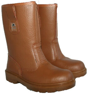 MENS TAN LEATHER STEEL TOE CAP PULL ON RIGGER BOOT WITH WARM LINING IN SIZE 10