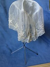 Antique Net Lace And Silk Night Bonnet. Ivory gorgeous!