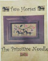 The Primitive Needle TWO HORSES w LINEN Included OOP Cross Stitch Kit