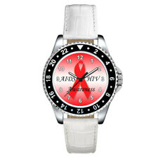 AIDS HIV Awareness Ribbon Unisex Mens Ladies Leather Band Wrist Watch