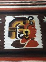 Vintage Wool Blanket Rug Mexican Mayan Aztec Inca Warrior Wall Art Textile 84x52