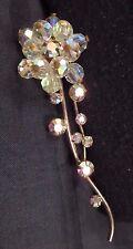 Vtg Unsigned Miriam Haskell Prong Set AB Rhinestone/Crystal Bead Flower Brooch
