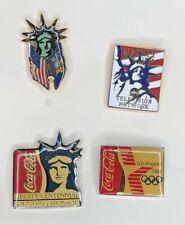 VINTAGE COCA COLA, OLYMPICS, ABC, MISS LIBERTY SOUVENIR PINS SET OF 4 PRE OWNED