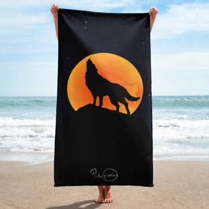 Orange and black towel, Orange moonlight wolf, Beach or bathroom, Full moon