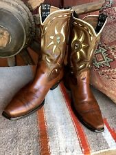 Vintage Acme Men's 9 D Brown Cowboy Boots White, Red, and Blue Inlays
