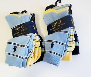 2 Polo Ralph Lauren Boys Shirt Stripe Crew Socks 3 Pack Multi Sz 9-11 - NWT