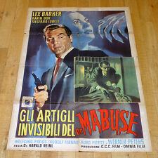 GLI ARTIGLI INVISIBILI DEL DR MABUSE manifesto poster Lex Barker Police Gun G8