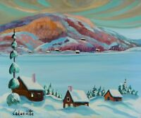 "Serge Cadorette 20x24"" Oil Painting Winter Snowy Lake Landscape Canadian Listed"