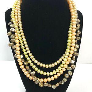 Jay King Desert Rose Trading Necklace Multi Strand Freshwater Pearl Sterling 925
