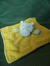 """TJM LITTLE SAFARI GREEN AND BLUE HIPPO COMFORTER BABY BLANKIE 13"""" APPROX"""