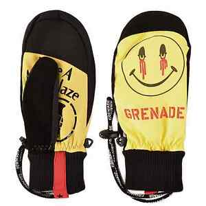 NWT MENS GRENADE BLAZED & CONFUSED SNOWBOARD MITTENS $50 Yellow/Black glove
