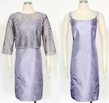 R & M Richards 2 PC Lilac Shift Dress Size 14P Embroidered Lace Women's New *
