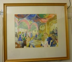 Large Framed Water Colour By Eric Dawson The Dance On The Pier 1987