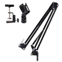 "27"" Adjustable Metal Microphone Stand Suspension Boom Scissor Arm Clips Holder"
