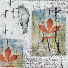 4 single paper decoupage napkins. Vintage orient style, Autumn, leaves, bark-591