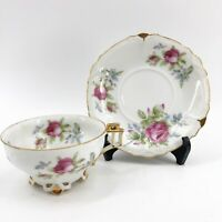 Vintage LEFTON China Footed Teacup Tea Cup & Saucer Hand painted Pink Roses