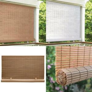 CORDLESS Indoor Outdoor Roll Up Exterior Sun Shade Window Blinds Deck Patio PVC