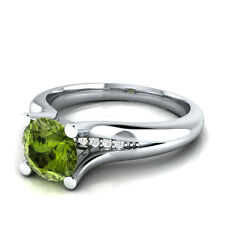 Demira Jewels Engagement Light Green Peridot Silver Diamond Ring